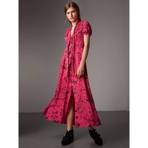 $1195 NWT Burberry Antonina Pink Silk Dress